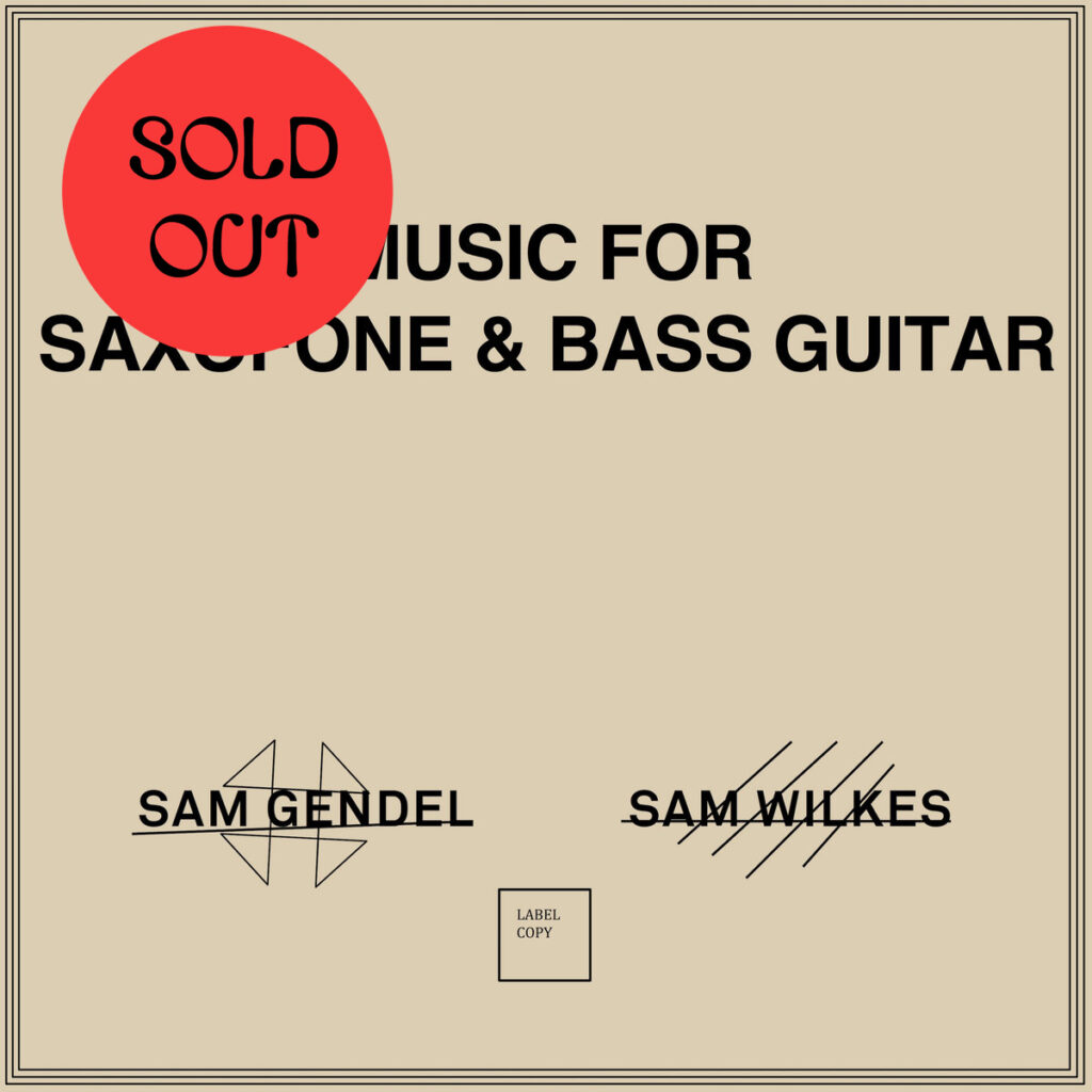 Sam Gendel & Sam Wilkes – Music For Saxofone & Bass Guitar LP product image